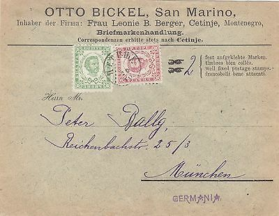 Montenegro 1894   Double  Franking Cover '3+7' From Cetinje To Germany