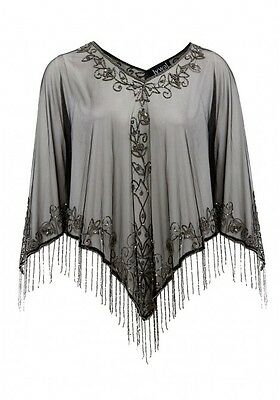 Lucinda 20s Great Gatsby Inspired, Bohemian Hippie Capelet, Beaded Shawl S-XL