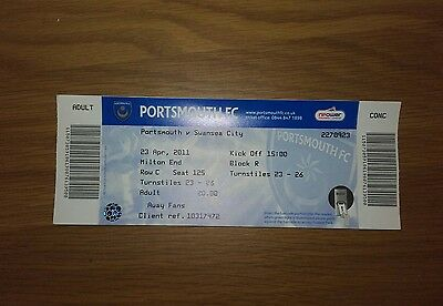 Portsmouth V Swansea City Unused Ticket 23Rd April 2011 Swans Promoted Mint