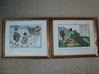2 Framed Chas Crombie Golf Prints Rule X And X11 Perrier Man Cave