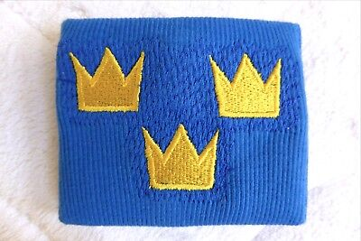 SWEDEN Blue with 3 crowns WRISTBAND Sweatband Sverige Ice Hockey Gym Soccer