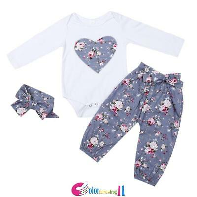 3PCS Newborn Infant Baby Girls Clothes Playsuit Romper Pants Bodysuit Outfit Set