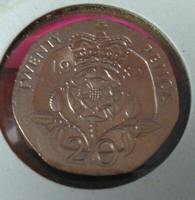 """1982 """"Brilliant Uncirculated"""" 20p pence coin."""