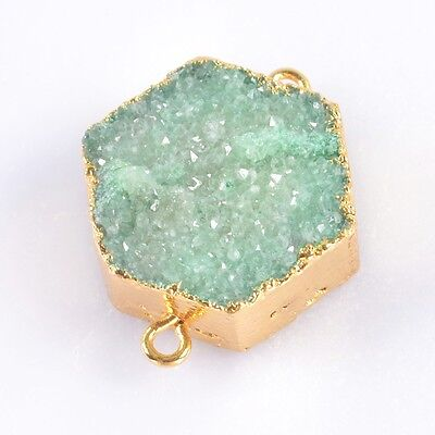 Hexagon Green Agate Druzy Geode Connector Gold Plated B039229
