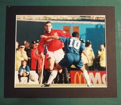 "ERIC CANTONA - SIGNED PHOTO 12"" x 10"" IN  MOUNT MANCHESTER UNITED vs CHELSEA"