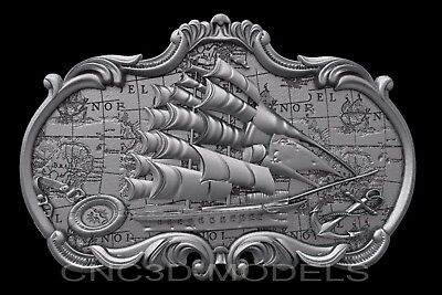 3D Model STL for CNC Router Carving Artcam Aspire Sailing Ship Boat b456