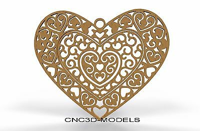 3D Model STL for CNC Router Engraver Carving Artcam Aspire Love Heart 8250