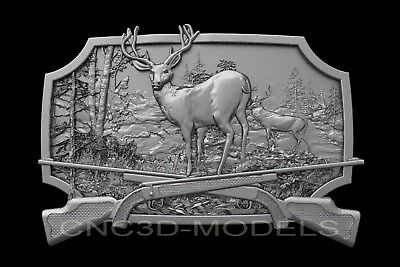 3D Model STL for CNC Router Engraver Carving Artcam Aspire Deer Hunt Hart b441