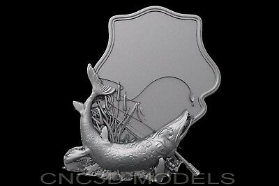 3D Model STL for CNC Router Artcam Aspire ish Fishing Hunting Shield b440