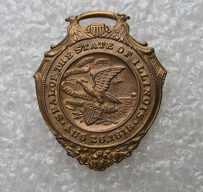 """Antique Illinois 14k gold on bronze Souvenir Watch Fob """"Seal of the State"""""""