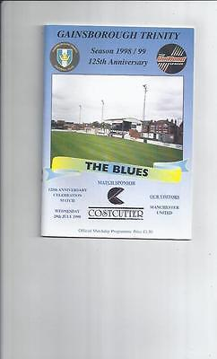 Gainsborough Trinity v Manchester United Friendly Football Programme 1998/99