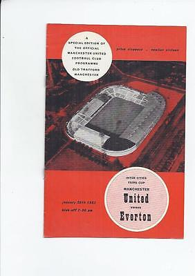 Manchester United v Everton Fairs Cup Football Programme  1964/65