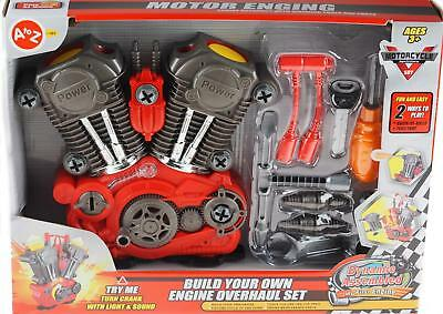 Build Your Own Engine Overhaul Toy Set for Kids - Take Apart Kit Tools - Sounds