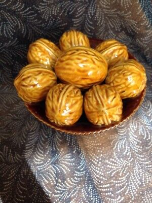 Vintage Decorative Glazed Bowl With Walnuts Ornament
