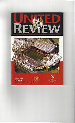 Manchester United v Lille Champions League Football Programme 2001/02