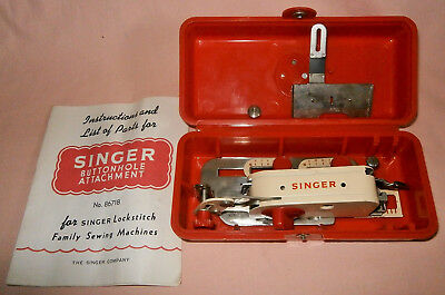 Singer Sewing Machine Buttonholer Button Hole Attachment & Instructions 86718