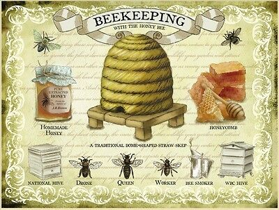 New15x20cm Beekeeping with the Honey Bee small metal advertising wall sign