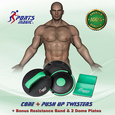 Sports Magic Core+ PushUp Bars Twisters with Bonus Elastic Band & 2 Dome Plates