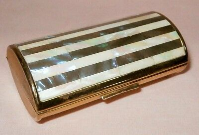 Vintage Ronson Mother of Pearl Barrel Cigarette Case Compact