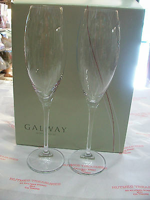 Galway Crystal Clarity Flute's Glasses set 6  BNIB