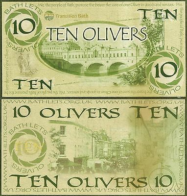 England / Bath : 10 Oliver Local UK Currency, very seldom seen, now extinct. UNC