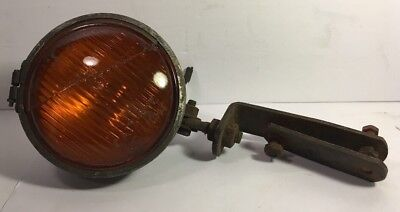 "Vintage Cats Eye Fog Light 5"" OD Amber Glass Mounting Hardware Bracket Rat Rod"