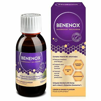 Benenox Overnight Recharge Food Supplement Lemon and Ginger - 135ml