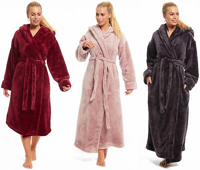 Ladies Womens Fleece Dressing Gown Ex Rosie For Marks and Spencer Grey Red Pink