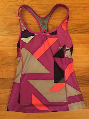 EUC Womens NIKE DRI FIT Size S Small Geometric Tank Shelf Bra Racerback Yoga