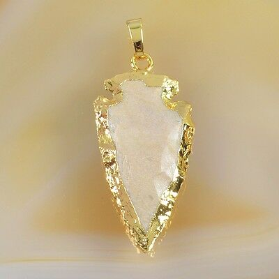 Hand Knapped Arrowhead Natural Jasper Pendant Bead Gold Plated T037248