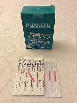 50 Acupuncture Needles plastic handles 0.2x15 mm suitable for face+ear very fine