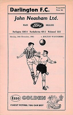 Darlington v Bolton (1st season League Cup) 1960/1