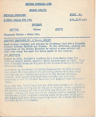 Enfield v Leyton Orient (4 page Friendly) 1974