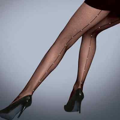 Ladies Fishnet Tights with Diamante Diamond Backseam by Silky in Black - Medium