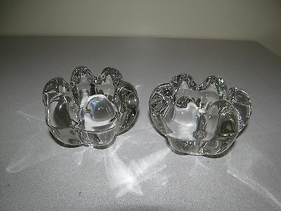 Vannes Le Chatel Art Glass Crystal Candle Holders France x2