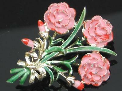 "Pretty Vintage 50's Enamel Pink Carnation ""exquisite"" Flower Series Brooch"