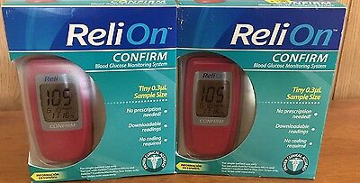 NEW ✿ ReliOn Confirm Blood Glucose Monitoring System Lot Of 2