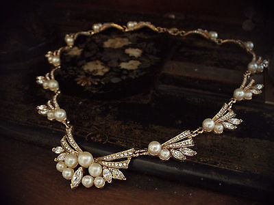 Vintage Gold,  Pearl & Clear Crystal  Necklace, Collar.