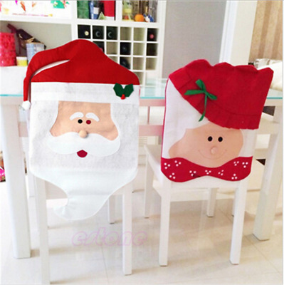 Cozy Santa Clause Chair Seat Back Covers Christmas Dinner Table Party Decor