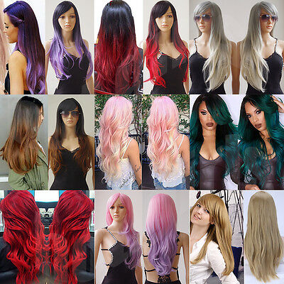"""28"""" Soft Synthetic Hair Cosplay Wig Full Head Wigs With Bangs Halloween Costume"""