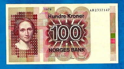 EX RARE UNC Norway P41b(1) 100 Kroner CAMILLA COLLETT Sign Wold/Sagard 1979