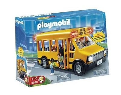 Playmobil 5940 School Bus Flashing Lights Removable Roof And Sliding Doors New