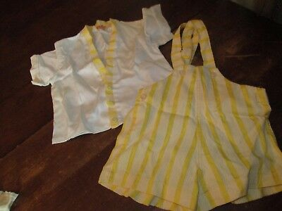 Vintage Baby Boy Shorts Overalls & shirt Kiddie Kruise Jumpsuit Romper Yellow