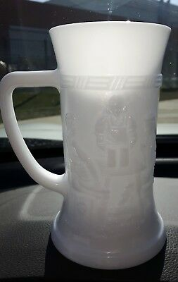 Vintage Milk glass Beer stein embossed sides