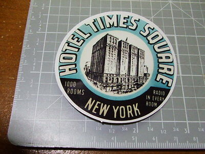 TIMES SQUARE HOTEL VINTAGE LOOK GLOSSY Sticker Decal Bumper Stickers NEW