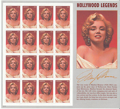 Liberia # 1216 MNH Complete Sheet Marilyn Monroe Movie Star Hollywood Film