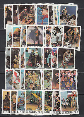 Liberia # 853-57 Complete 1979 Rockwell Scouting 50 Differnt MNH Perf & Imperf