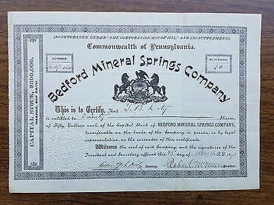 BEDFORD MINERAL SPRINGS Co. Stock Certificate - 1893