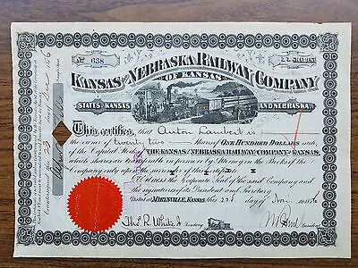 KANSAS & NEBRASKA Railway of KANSAS Stock - 1876