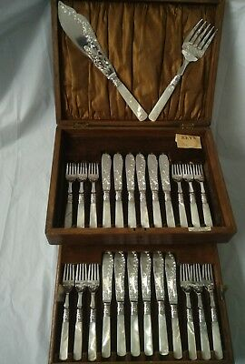 Antique Mother Of Pearl Silver Plated / Fruit Knife And Fork Set
